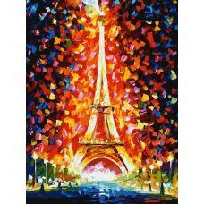 Живопись по номерам на картоне Париж - огни Эйфелевой башни Л.Афремова, 30x40, Белоснежка