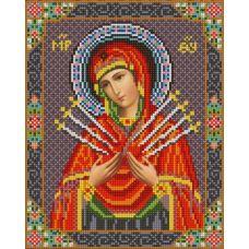 Ткань для вышивания бисером Богородица Семистрельная, 20х25, Конек