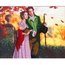 Вышивка бисером на габардине Романтическая прогулка, 40x32, Астрея
