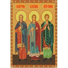 Ткань для вышивания бисером Святые Гурий, Самон и Авив, 19х30, Конек