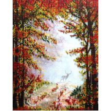 Вышивка бисером на шелке Осень в лесу, 32x41,5, FeDi