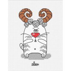 Набор для вышивания Кошачий гороскоп. Овен, 7x12, Овен