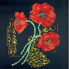 Вышивка бисером на шелке Маки, 23x23, FeDi