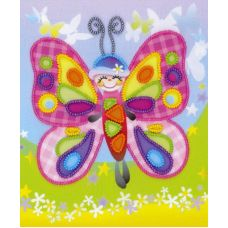 Набор для вышивания бисером Сказочная бабочка, частичная вышивка, 15x18, Риолис, Сотвори сама