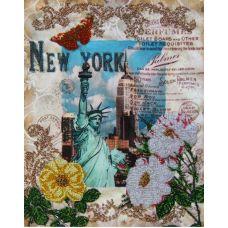 Вышивка бисером на габардине Вокруг света – Нью-Йорк, 40x32, Астрея
