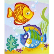 Набор для вышивания бисером Морские рыбки, частичная вышивка, 15x18, Риолис, Сотвори сама