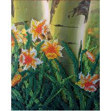 Вышивка бисером на шелке Нарциссы, 18x23,5, FeDi