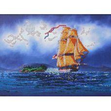Вышивка бисером на габардине Золотые паруса, 40x30, Астрея