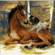 Набор для вышивания Жеребенок и щенок, частичная вышивка, 30x30, Риолис, Сотвори сама