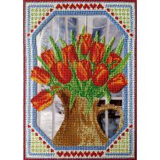 Вышивка бисером на шелке Тюльпаны, 27,5x37, FeDi