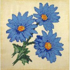 Вышивка бисером на шелке Голубые ромашки, 27x27, FeDi