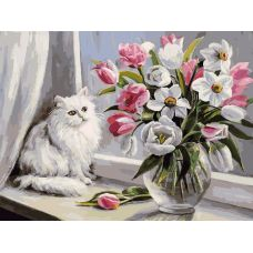 Живопись по номерам Весна на окошке, 30x40, Белоснежка