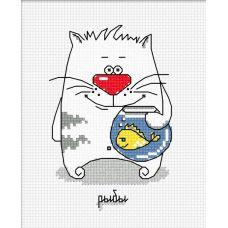 Набор для вышивания Кошачий гороскоп. Рыбы, 8x12, Овен