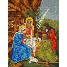 Ткань для вышивания бисером Рождество христово, 29х39, Конек