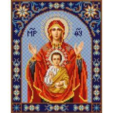 Ткань для вышивания бисером Богородица Знамение, 20х25, Конек