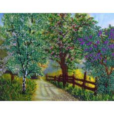 Вышивка бисером на шелке Весенний сад, 31x39, FeDi