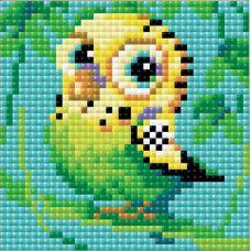 Алмазная мозаика Попугай, 10x10, полная выкладка, Риолис