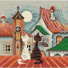 Алмазная мозаика Город и кошки. Весна, 20x20, полная выкладка, Риолис
