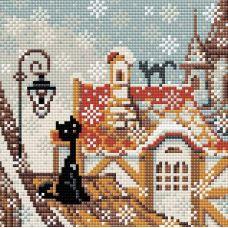 Алмазная мозаика Город и кошки. Зима, 20x20, полная выкладка, Риолис