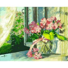 Картина по номерам Букет на окне, 40x50, Белоснежка