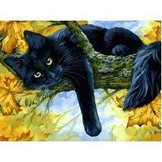 Живопись на холсте Осенний кот, 30x40, Белоснежка