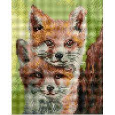 Алмазная мозаика Лисята, 20x25, полная выкладка, Белоснежка