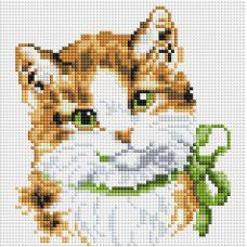 Алмазная мозаика Кошка Алиса, 20x20, полная выкладка, Белоснежка