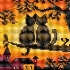 Алмазная мозаика Две кошки, 20x20, полная выкладка, Белоснежка