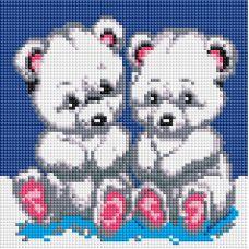 Алмазная мозаика Медвежата, 20x20, полная выкладка, Белоснежка