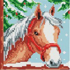 Алмазная мозаика Белогривая лошадка, 20x20, полная выкладка, Белоснежка