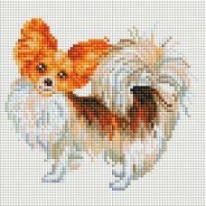 Алмазная мозаика Собака-бабочка, 20x20, полная выкладка, Белоснежка