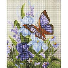 Алмазная мозаика Бабочка на ирисах, 20x25, полная выкладка, Белоснежка