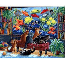 Живопись на холсте Коты и рыбки, 40x50, Белоснежка