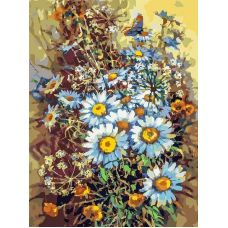 Живопись на холсте Букет с ромашками и бабочкой, 30x40, Белоснежка