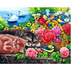 Живопись на холсте Корзина с цветами, 40x50, Белоснежка