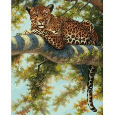 Живопись на холсте Леопард в тени ветвей, 40x50, Белоснежка