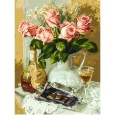 Живопись на холсте Розы и шоколад, 30x40, Белоснежка