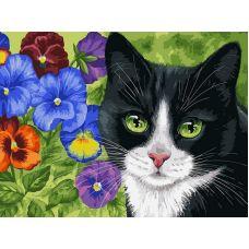 Живопись на холсте Кот в анютиных глазках, 30x40, Белоснежка