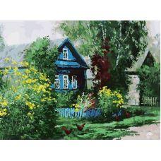 Живопись по номерам на картоне Домик в деревне, 30x40, Белоснежка