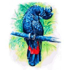 Живопись на холсте Синий попугай, 30x40, Белоснежка