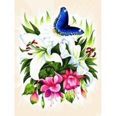 Живопись на холсте Бабочка в Ботаническом саду, 30x40, Белоснежка