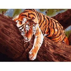 Живопись на холсте Тигр на дереве, 30x40, Белоснежка