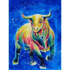 Живопись по номерам Космический бык, 30x40, Белоснежка