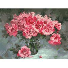 Живопись по номерам на холсте Розовые пионы, 30x40, Белоснежка