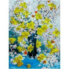 Живопись на холсте Нарциссы, 30x40, Белоснежка