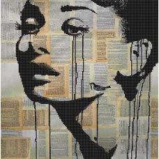 Канва с рисунком Одри Хепберн, 40x40, Божья коровка
