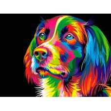 Живопись по номерам Радужный пес, 40x50, Hobruk, HS0125