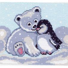Рисунок на канве Мишка и пингвин, 16x20, Матренин посад