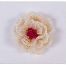 Набор для бисероплетения Брошь Персиковая роза, 6,5х6,5, Матренин посад