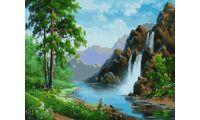 Живопись на холсте Горный водопад, 40x50, Paintboy, GX21224